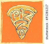 lettering pizza. hand drawn...   Shutterstock .eps vector #691281217