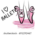 watercolor pointe shoes with... | Shutterstock .eps vector #691292467