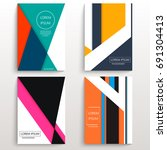 set of cards with various... | Shutterstock .eps vector #691304413