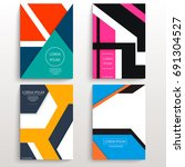 set of cards with various... | Shutterstock .eps vector #691304527