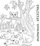 childrens coloring cartoon... | Shutterstock . vector #691317463