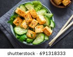 Fried Tofu Salad With Cucumber...