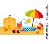 summer vacation island banner... | Shutterstock .eps vector #691329253