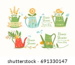 watering cans  pots set  flower ... | Shutterstock .eps vector #691330147