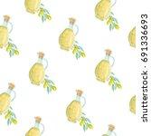 olive oil bottle and branch...   Shutterstock . vector #691336693