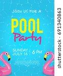pool party invitation vector...   Shutterstock .eps vector #691340863