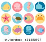 Cute Vector Sea Animals Icons...