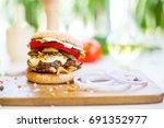 homemade burger with beef ... | Shutterstock . vector #691352977
