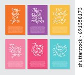 vector set of cards with... | Shutterstock .eps vector #691358173