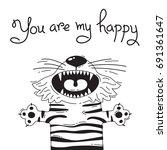 illustration with joyful tiger... | Shutterstock .eps vector #691361647