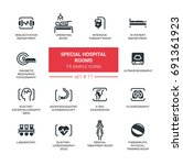 special hospital rooms   set of ... | Shutterstock .eps vector #691361923