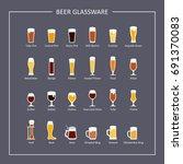 beer glassware guide  flat... | Shutterstock . vector #691370083