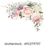 vintage card  watercolor... | Shutterstock . vector #691379707