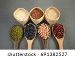 cereal grains and seeds beans... | Shutterstock . vector #691382527