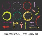 set of hand drawn colorful... | Shutterstock .eps vector #691383943
