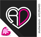 icon logo heart shape with... | Shutterstock .eps vector #691396483