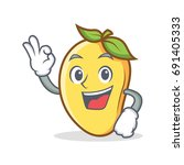 okay mango character cartoon... | Shutterstock .eps vector #691405333
