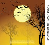 haunted tree. vector eps 10 | Shutterstock .eps vector #691410643