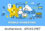 vector illustration of mobile...   Shutterstock .eps vector #691411987