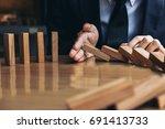 close up of businessman hand... | Shutterstock . vector #691413733