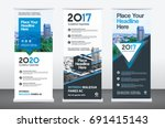 city background business roll... | Shutterstock .eps vector #691415143