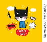 Super Cat. Cartoon Print.