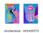colorful international jazz... | Shutterstock .eps vector #691420573