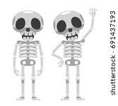 vector skeleton characters...   Shutterstock .eps vector #691437193