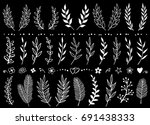 chalk set of hand draw tree...   Shutterstock . vector #691438333