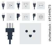 electric outlet vector... | Shutterstock .eps vector #691449673