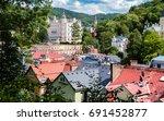 panoramic view of karlovy vary  | Shutterstock . vector #691452877