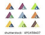 triangle colorful logo vector | Shutterstock .eps vector #691458607