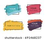 grunge set of black paint  ink... | Shutterstock .eps vector #691468237