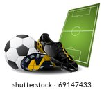 Soccer boots and ball - stock vector