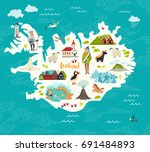 cartoon map of iceland for kid... | Shutterstock .eps vector #691484893