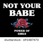 flowers with message slogan... | Shutterstock .eps vector #691487473