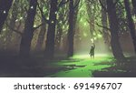fantasy scene of alone man with ... | Shutterstock . vector #691496707