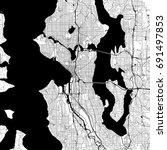 seattle monochrome vector map.... | Shutterstock .eps vector #691497853