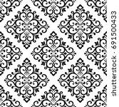 damask wallpaper. a seamless... | Shutterstock .eps vector #691500433