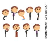 young cartoon catholic priest...   Shutterstock .eps vector #691501927