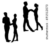 set of silhouettes of man and... | Shutterstock .eps vector #691512073