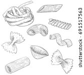 pasta mix. hand drawn sketch.... | Shutterstock . vector #691517563