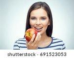 smiling girl with dental braces ... | Shutterstock . vector #691523053