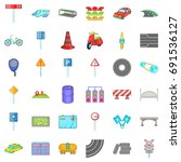 road sigh icons set. cartoon... | Shutterstock .eps vector #691536127
