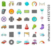 car traffic icons set. cartoon... | Shutterstock .eps vector #691537333