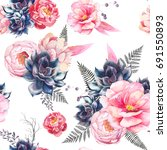 watercolor seamless pattern... | Shutterstock . vector #691550893