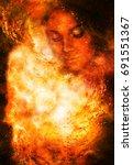 goddess woman in cosmic space.... | Shutterstock . vector #691551367