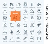 sauna   outline web icon set ... | Shutterstock .eps vector #691558843