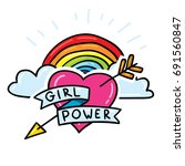 Girl Power Sticker Pin With...