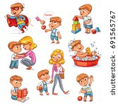 cartoon kid daily routine... | Shutterstock .eps vector #691565767